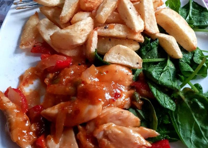 my-so-sweet-chilli-chicken-with-spinach-also-homemade-chips-😀-recipe-main-photo